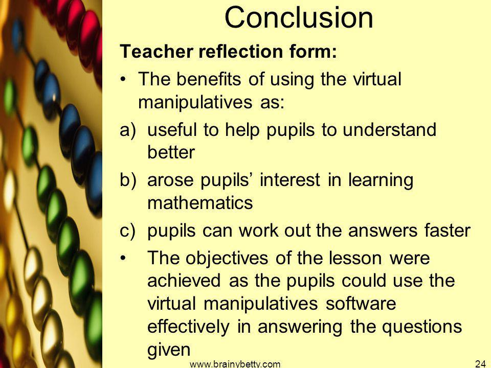 Conclusion Teacher reflection form: