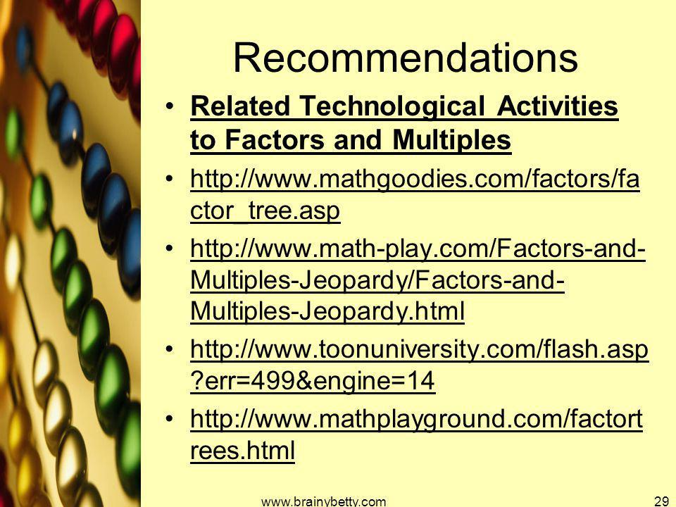 Recommendations Related Technological Activities to Factors and Multiples. http://www.mathgoodies.com/factors/factor_tree.asp.