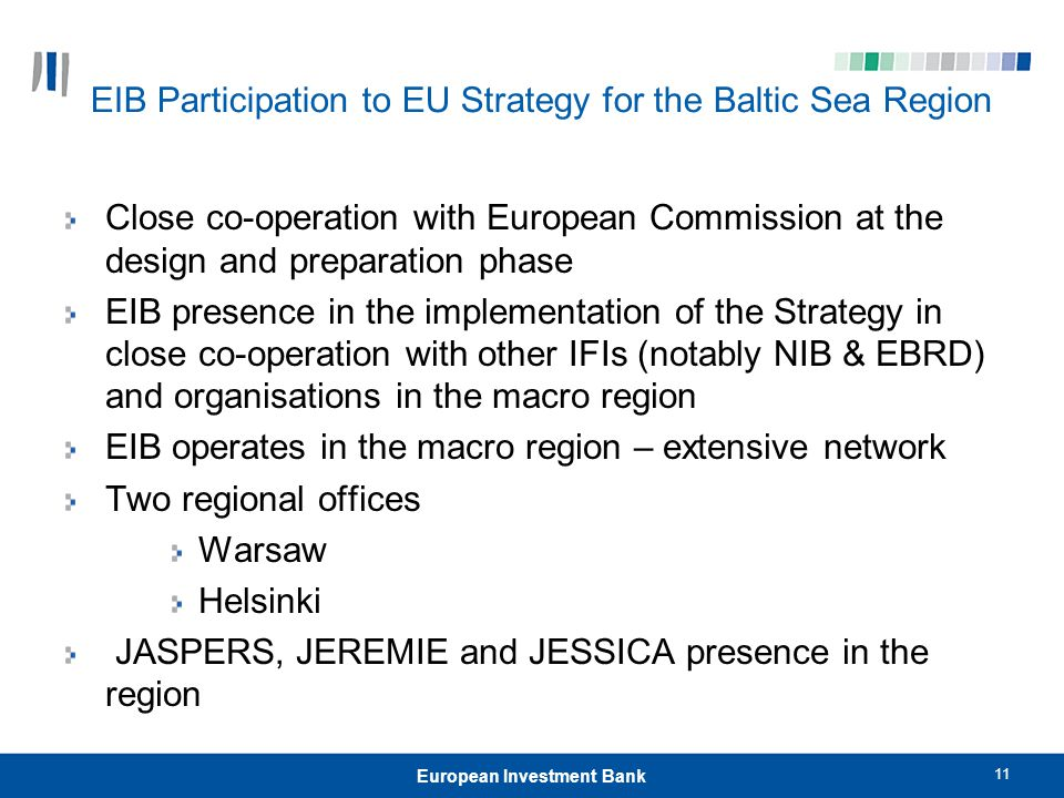 EIB Participation to EU Strategy for the Baltic Sea Region