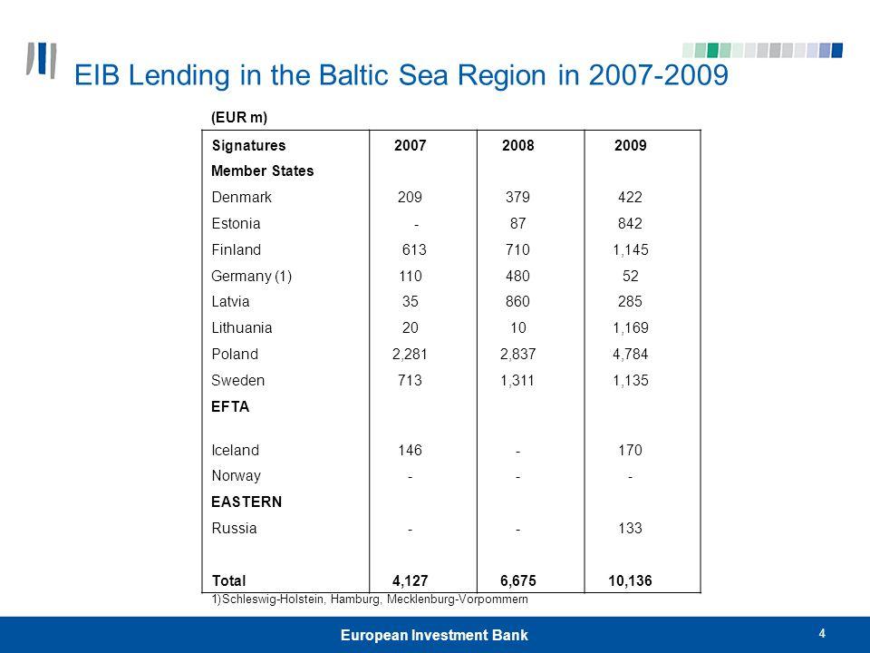 EIB Lending in the Baltic Sea Region in 2007-2009