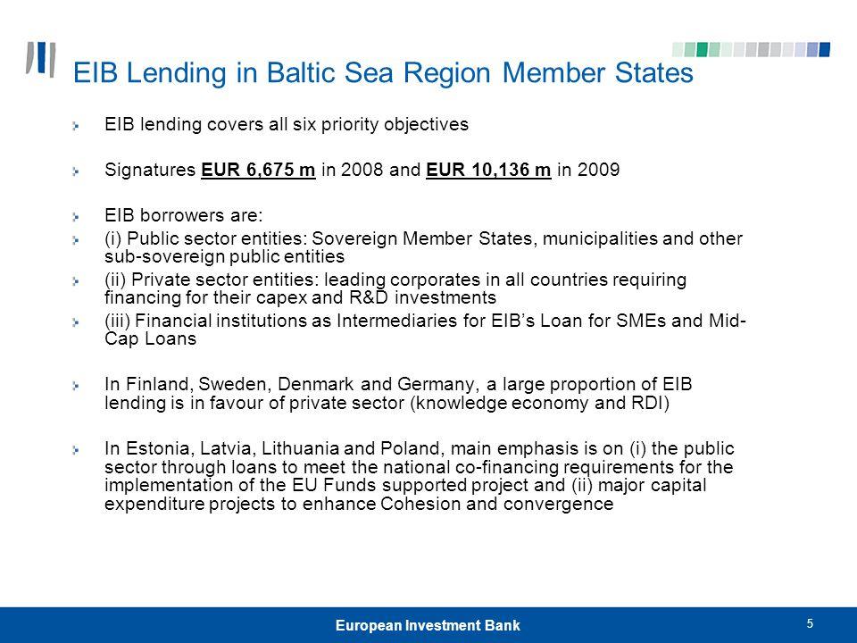 EIB Lending in Baltic Sea Region Member States