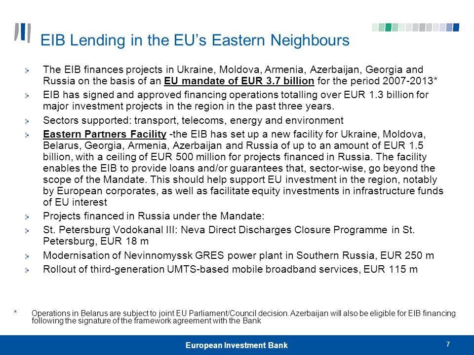 EIB Lending in the EU's Eastern Neighbours