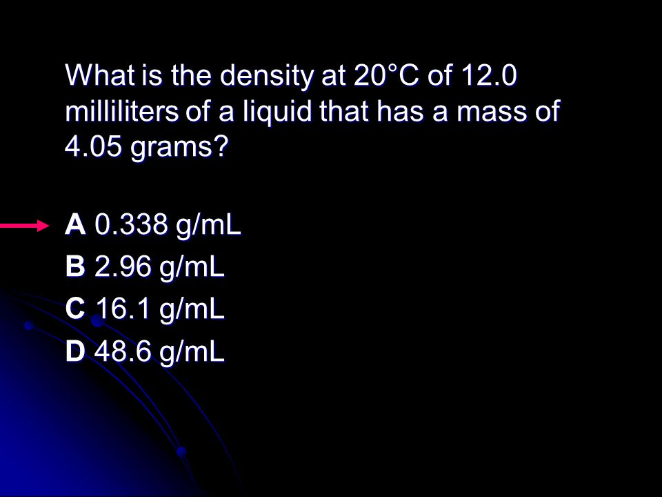 What is the density at 20°C of 12