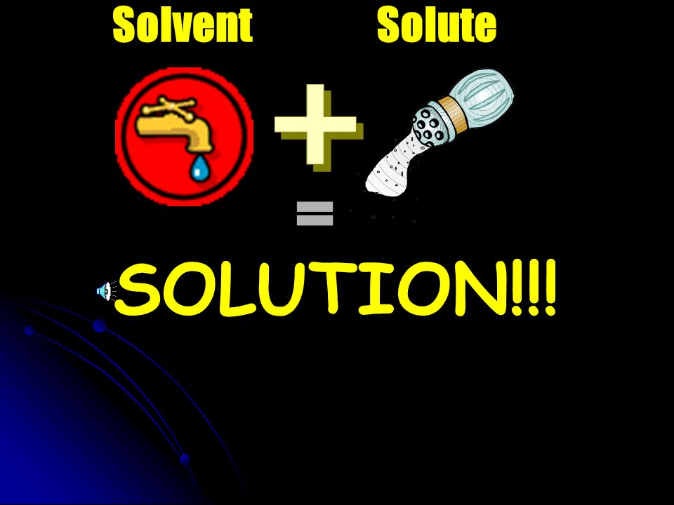 Solvent Solute = SOLUTION!!!