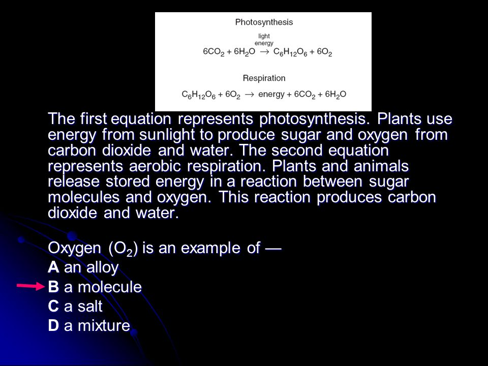 The first equation represents photosynthesis