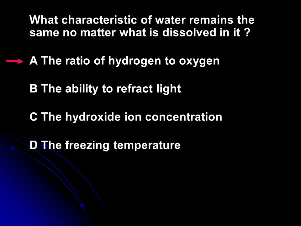 What characteristic of water remains the same no matter what is dissolved in it