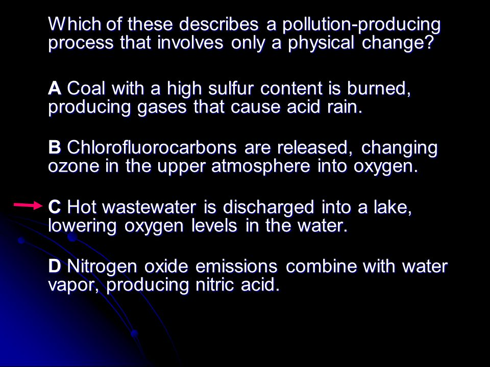 Which of these describes a pollution-producing process that involves only a physical change