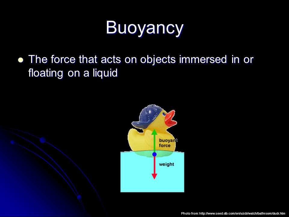 Buoyancy The force that acts on objects immersed in or floating on a liquid.