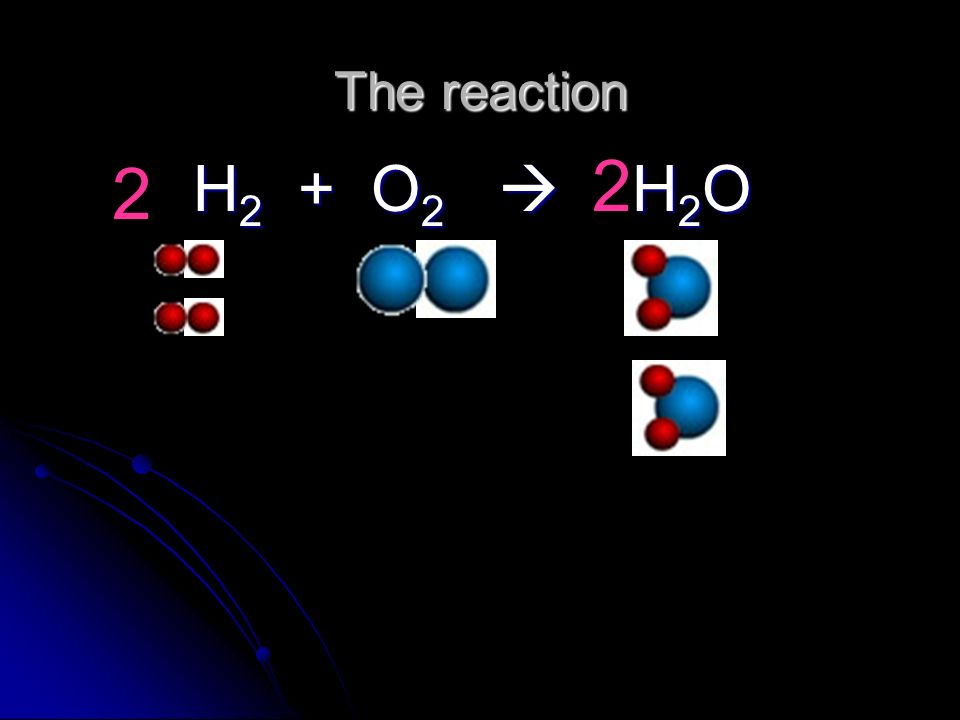 The reaction 2 2 H2 + O2  H2O