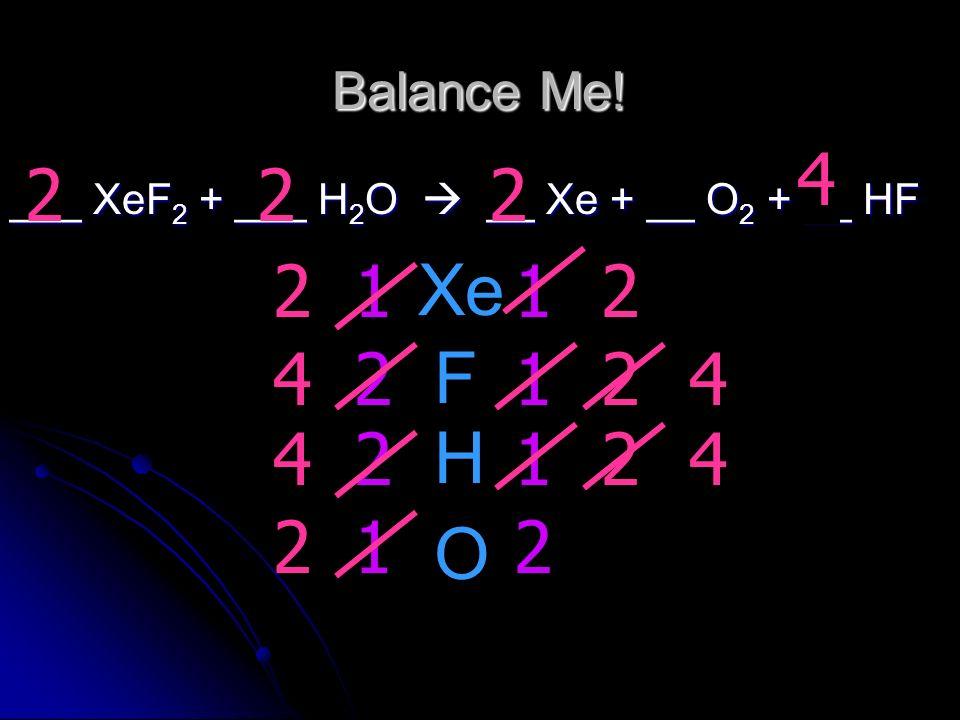 Balance Me! 2. 4. 2. 2. 2. ___ XeF2 + ___ H2O  __ Xe + __ O2 + __ HF. 2. 2. 1. Xe. 1. 4.