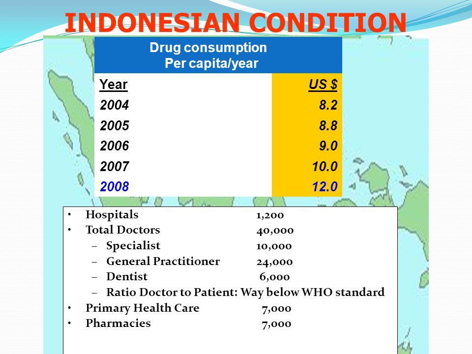 INDONESIAN CONDITION Drug consumption Per capita/year Year US $ 2004