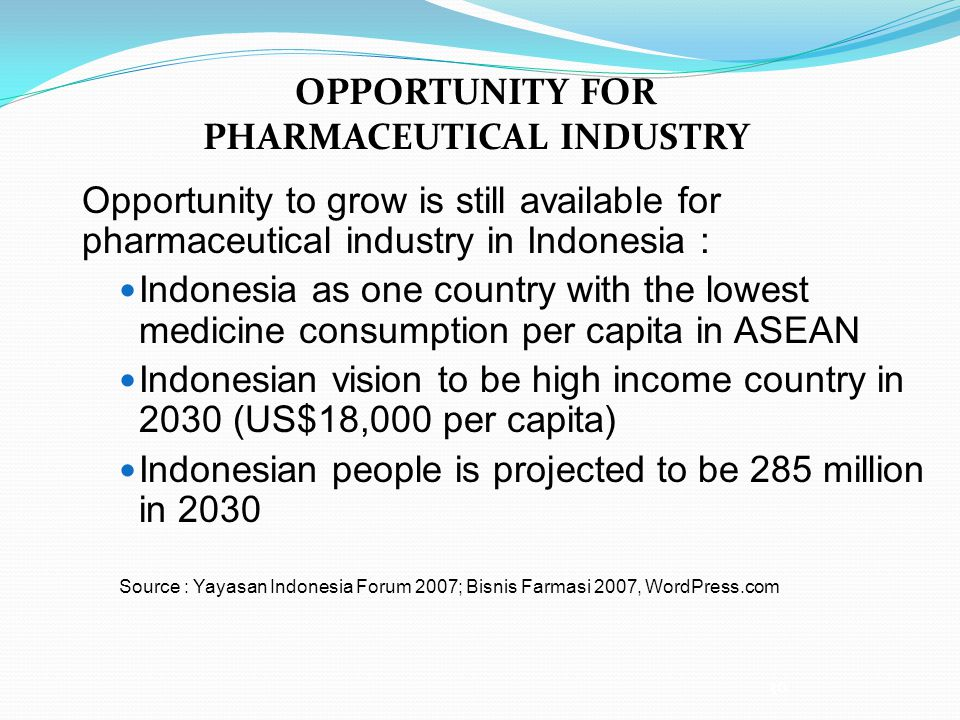 OPPORTUNITY FOR PHARMACEUTICAL INDUSTRY