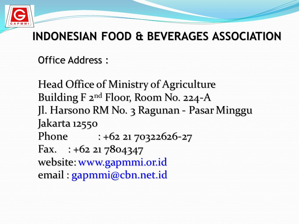 INDONESIAN FOOD & BEVERAGES ASSOCIATION