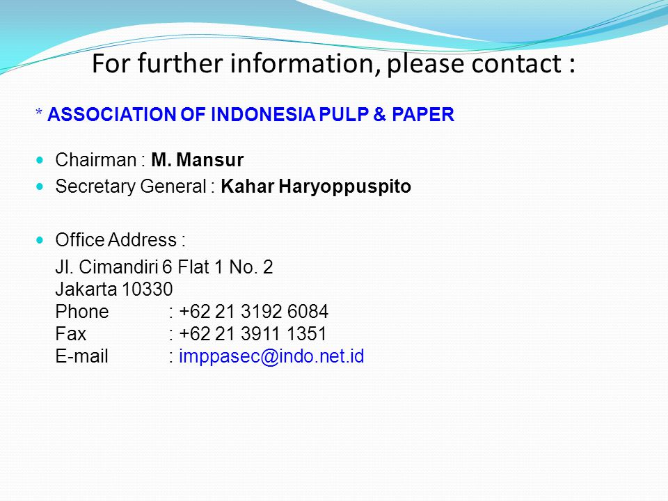 For further information, please contact :