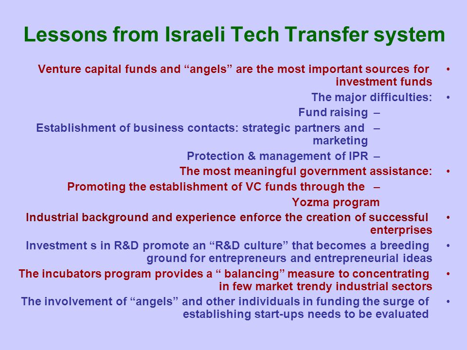 Lessons from Israeli Tech Transfer system
