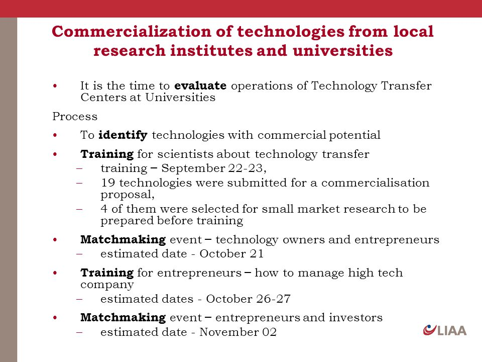 Commercialization of technologies from local research institutes and universities