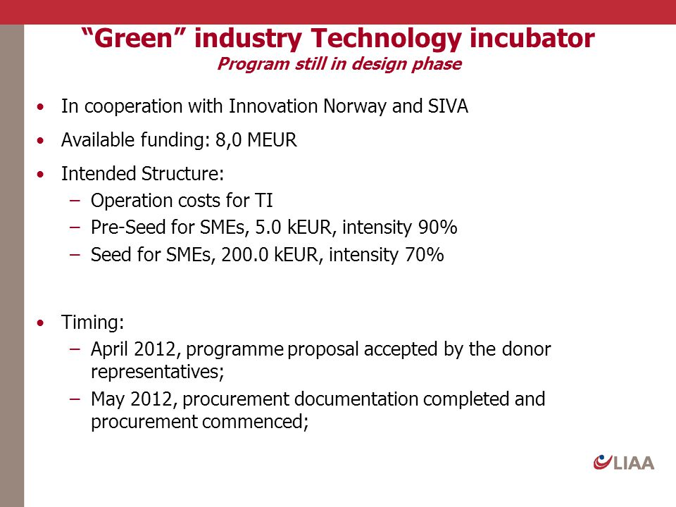 Green industry Technology incubator Program still in design phase