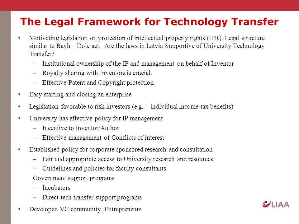 The Legal Framework for Technology Transfer