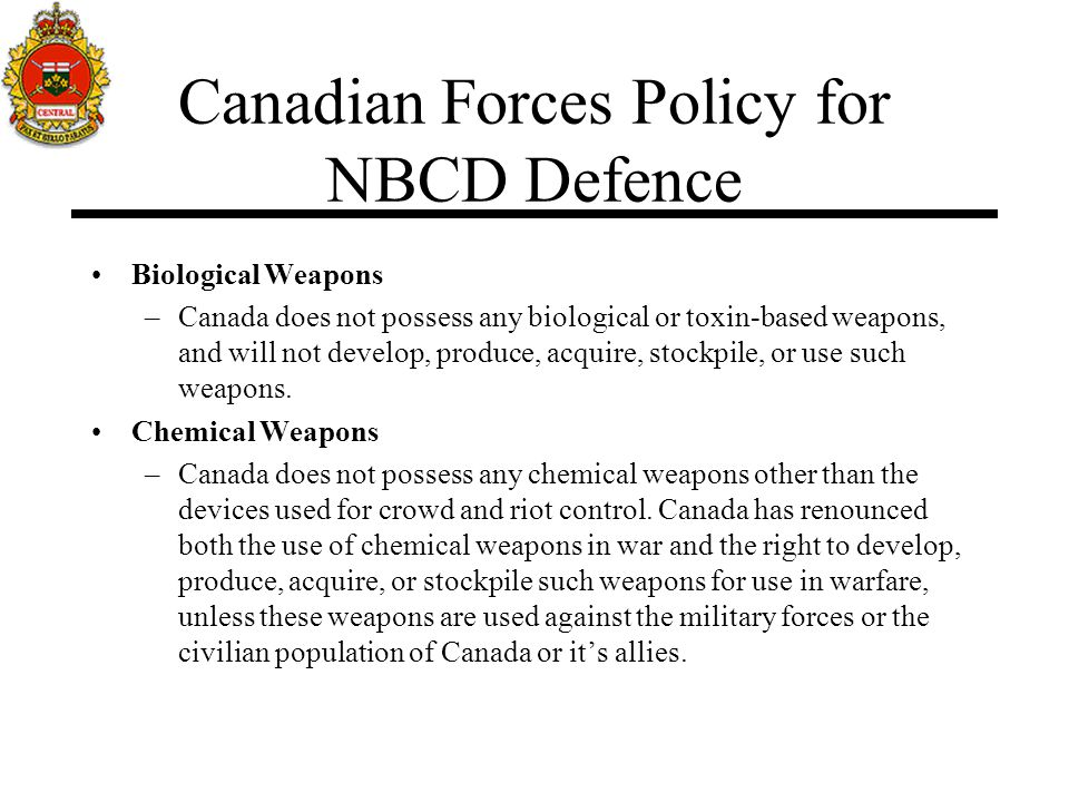 Canadian Forces Policy for NBCD Defence
