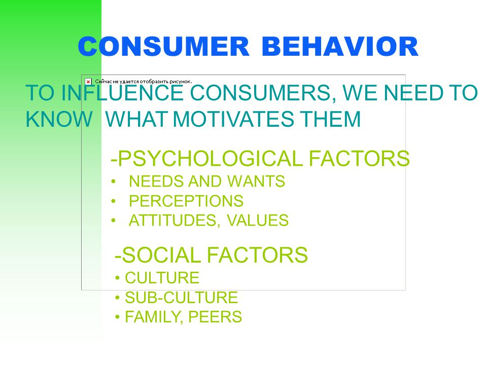 CONSUMER BEHAVIOR TO INFLUENCE CONSUMERS, WE NEED TO KNOW WHAT MOTIVATES THEM. -PSYCHOLOGICAL FACTORS.