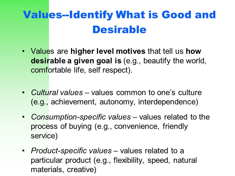 Values--Identify What is Good and Desirable