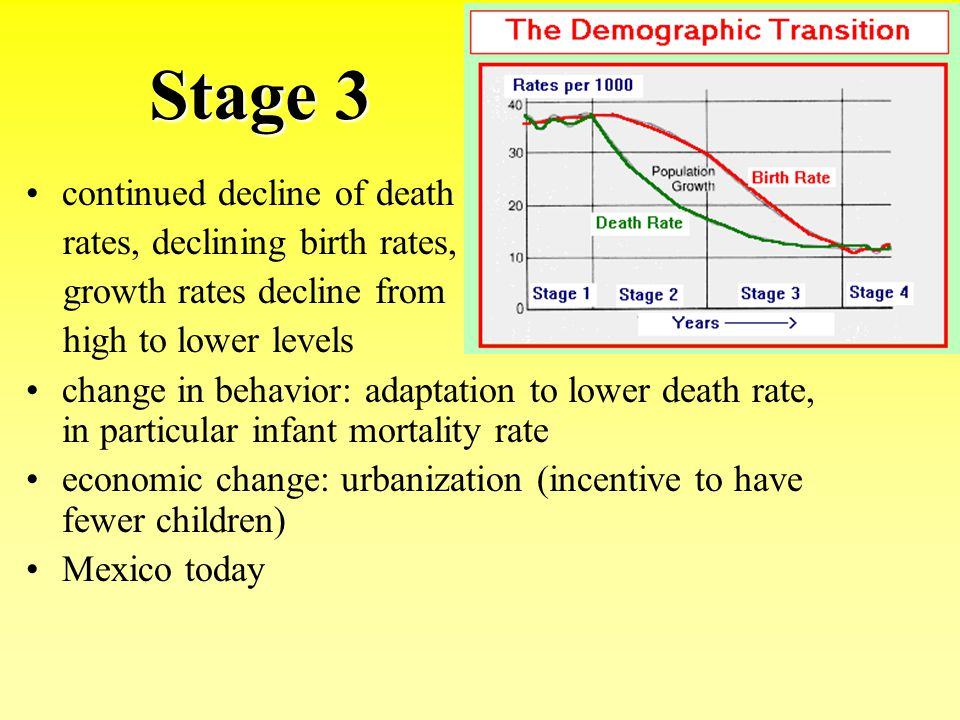 Stage 3 continued decline of death rates, declining birth rates,