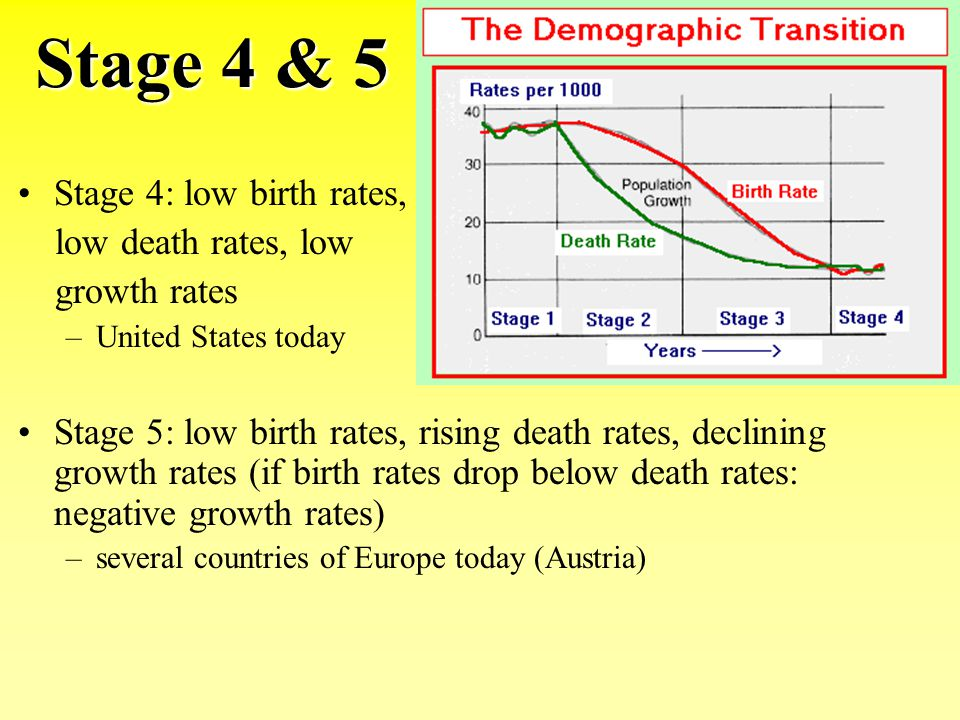 Stage 4 & 5 Stage 4: low birth rates, low death rates, low