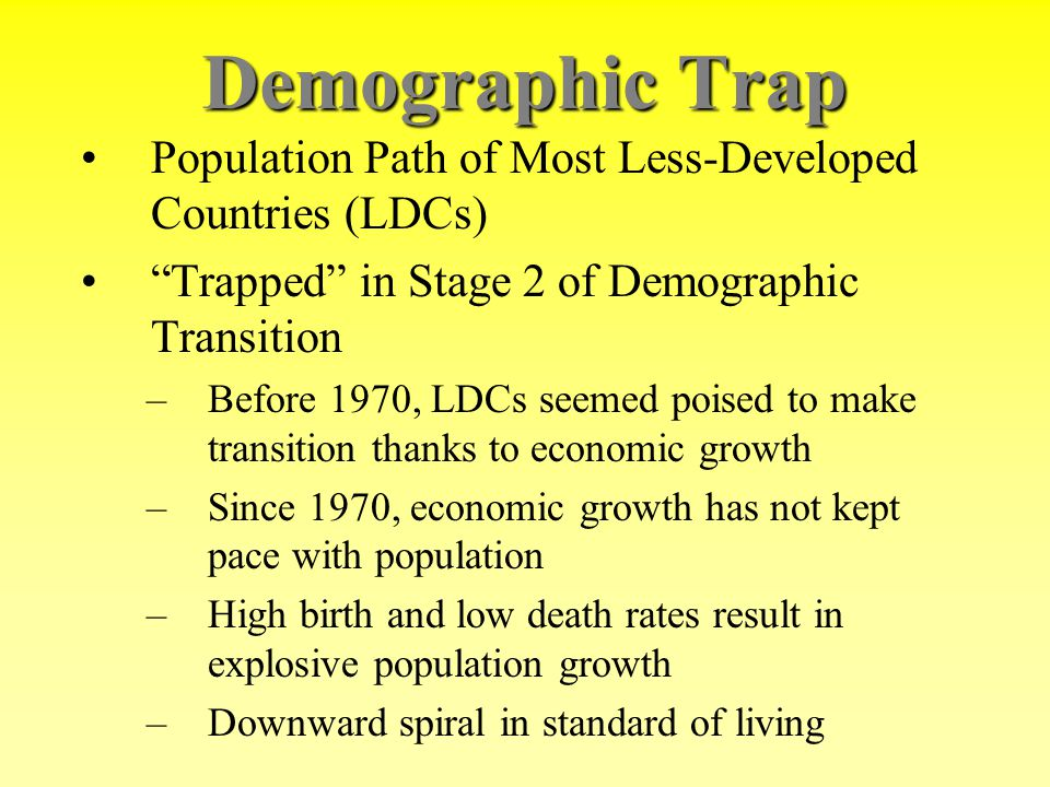 Demographic Trap Population Path of Most Less-Developed Countries (LDCs) Trapped in Stage 2 of Demographic Transition.
