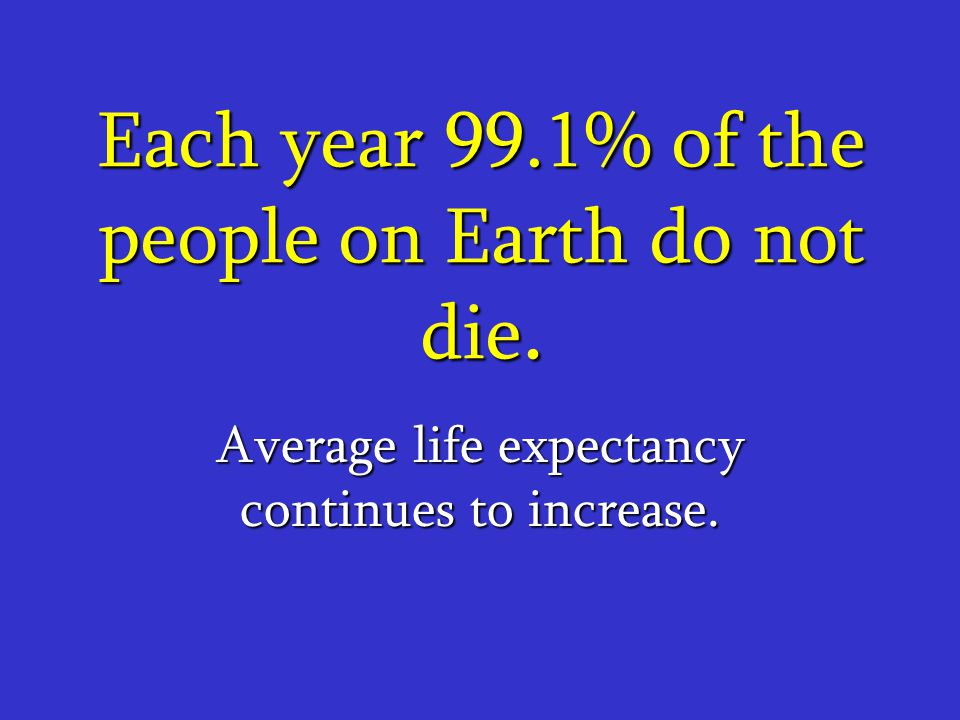 Each year 99.1% of the people on Earth do not die.