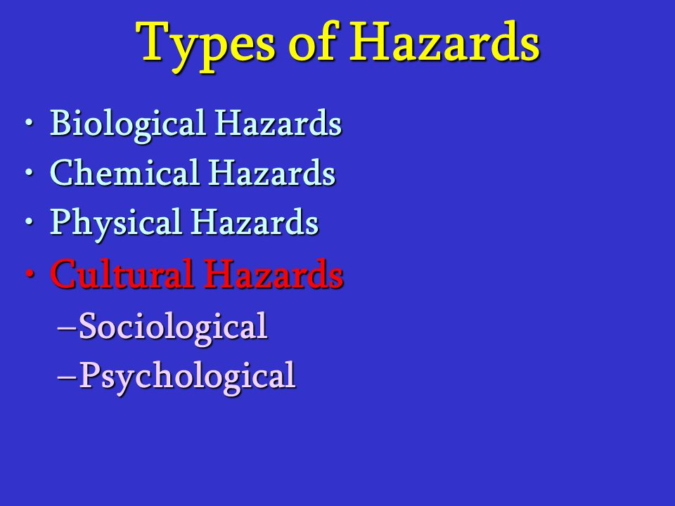 Types of Hazards Cultural Hazards Biological Hazards Chemical Hazards
