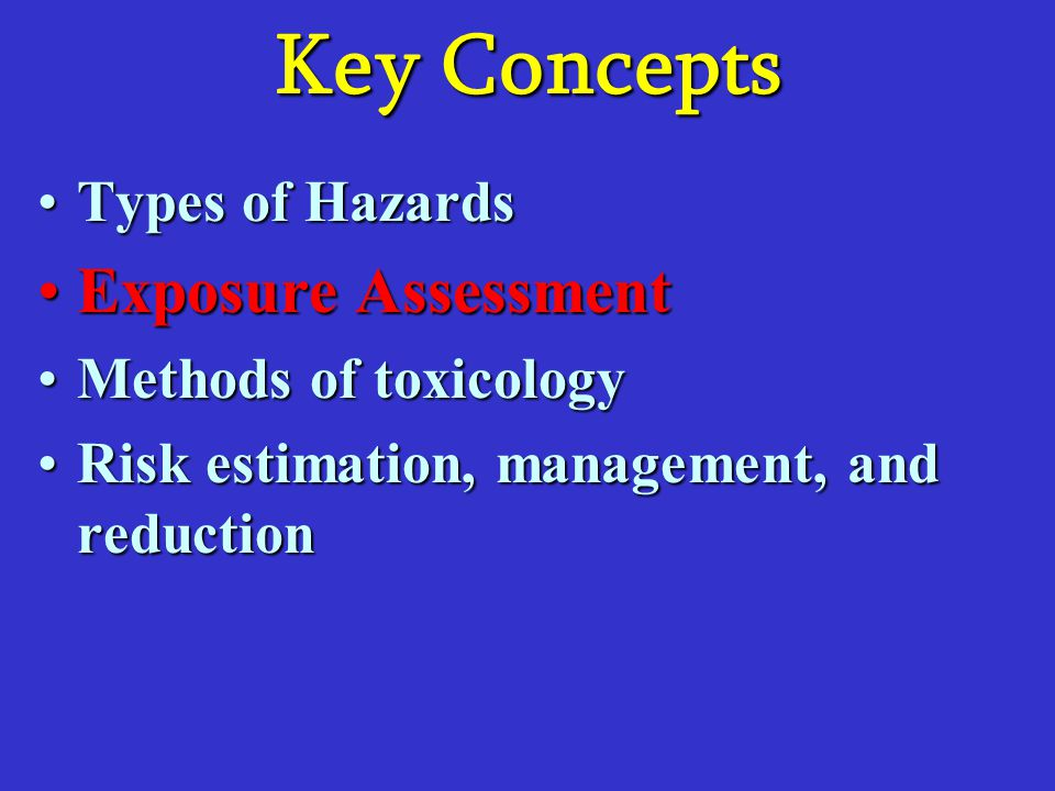 Key Concepts Exposure Assessment Types of Hazards