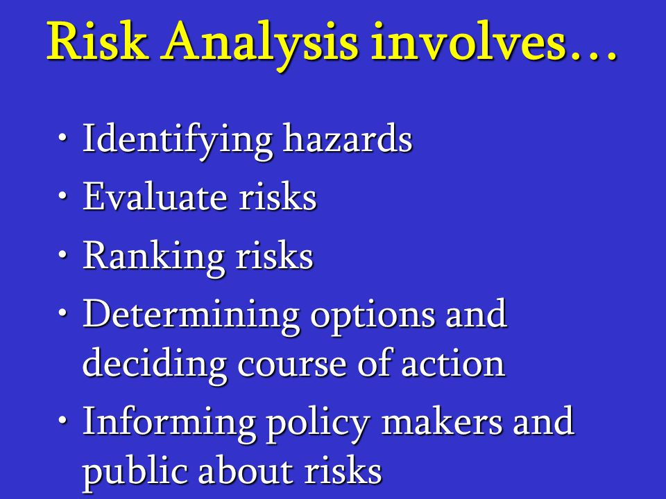 Risk Analysis involves…