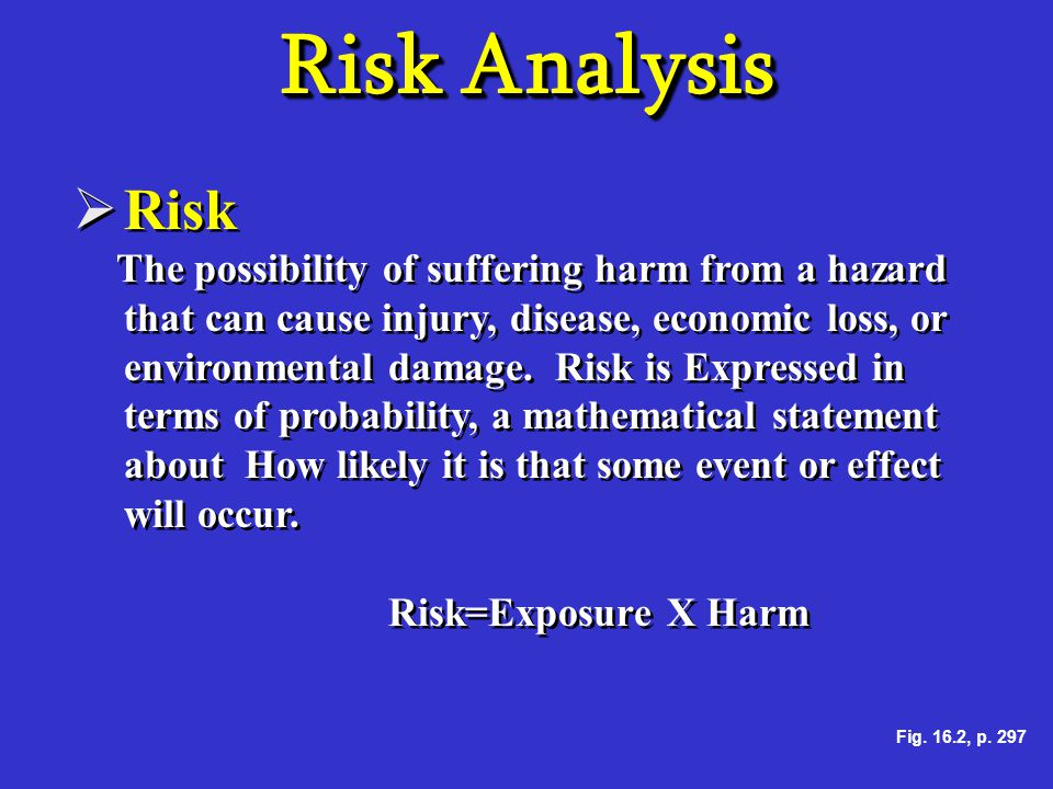 Risk Analysis Risk Risk=Exposure X Harm