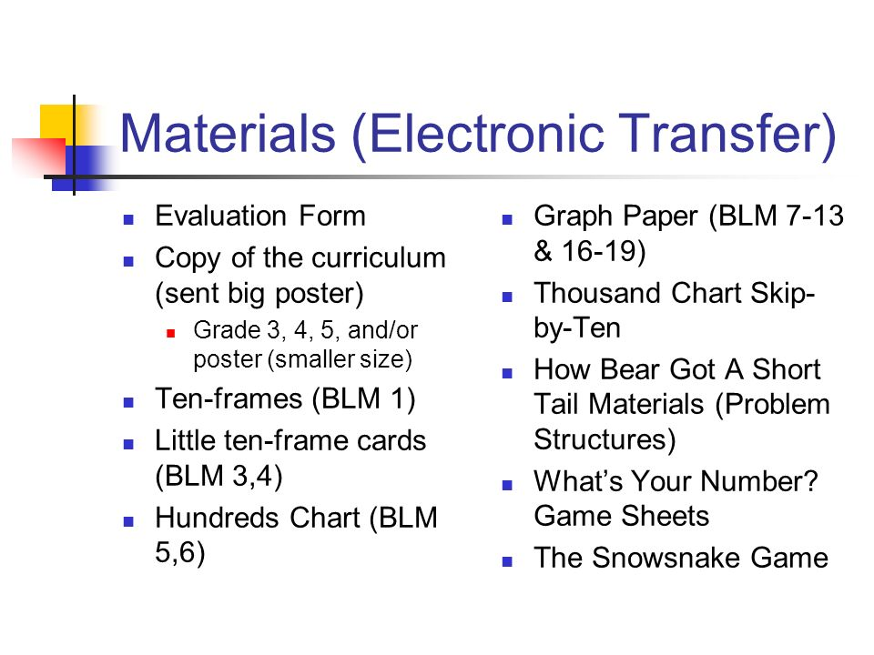 Materials (Electronic Transfer)