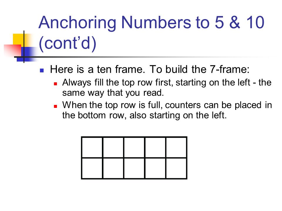 Anchoring Numbers to 5 & 10 (cont'd)