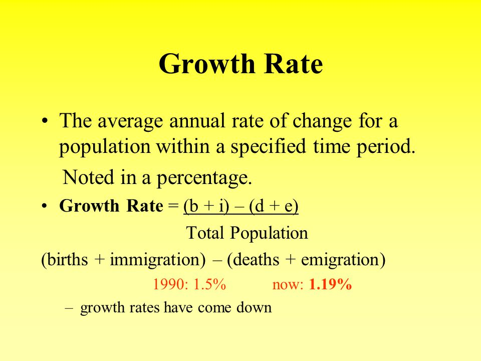 Growth Rate The average annual rate of change for a population within a specified time period. Noted in a percentage.