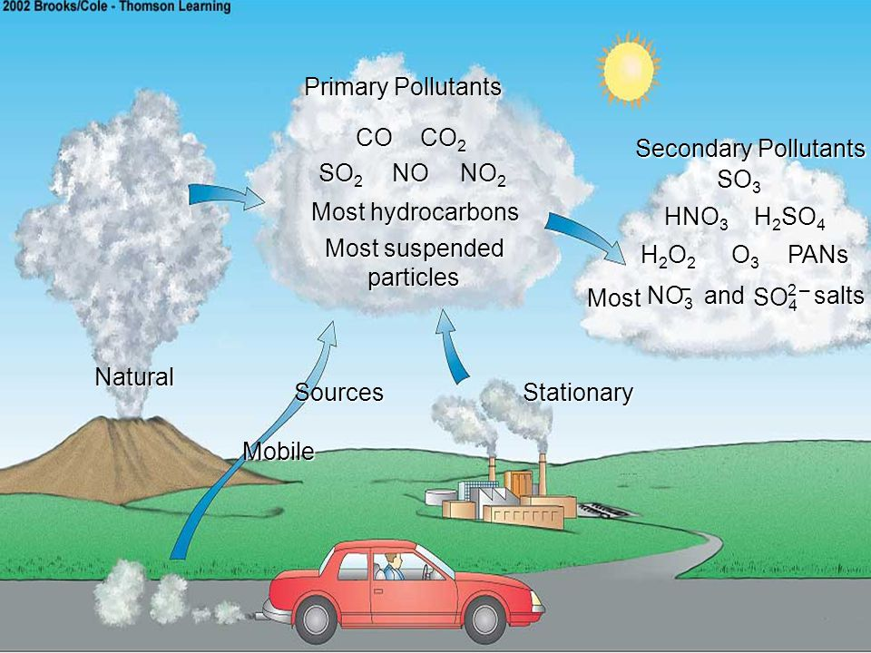 Primary Pollutants CO CO2 Secondary Pollutants SO2 NO NO2 SO3