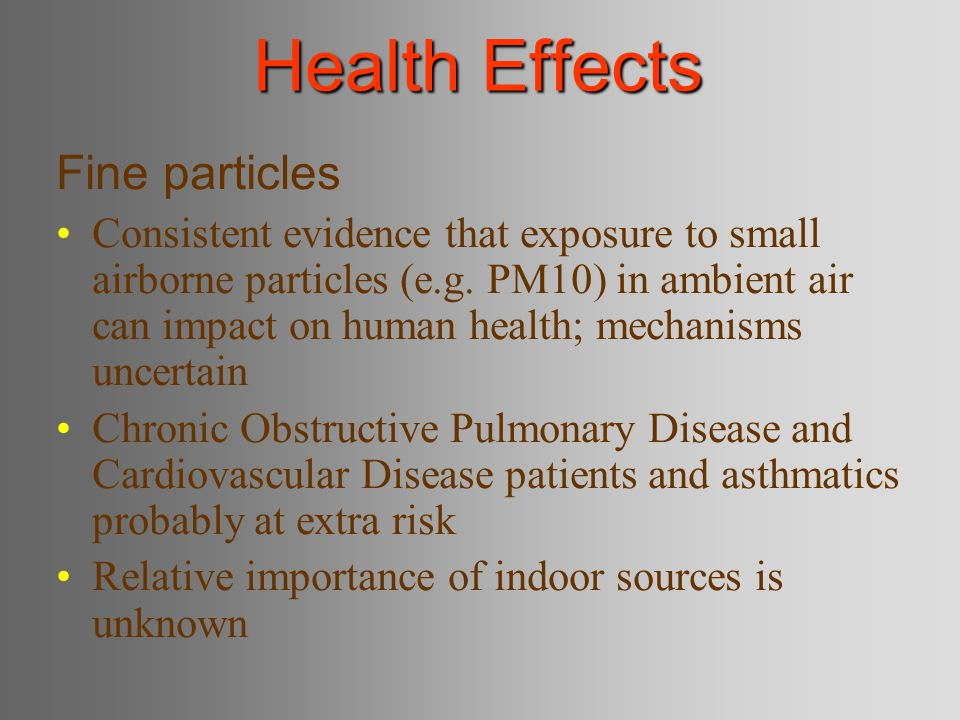 Health Effects Fine particles