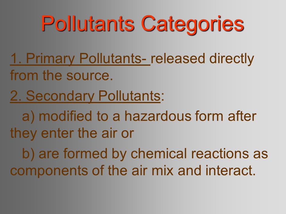Pollutants Categories