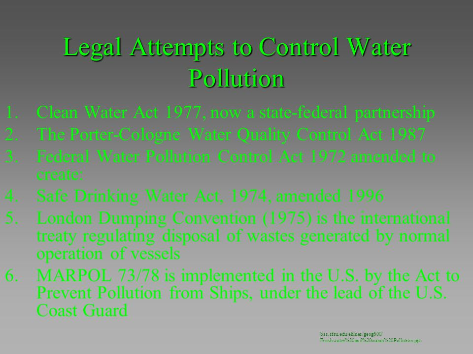 Legal Attempts to Control Water Pollution