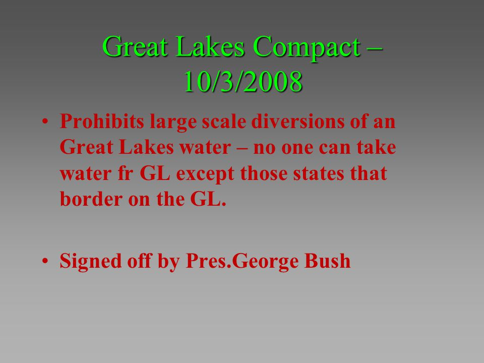 Great Lakes Compact – 10/3/2008