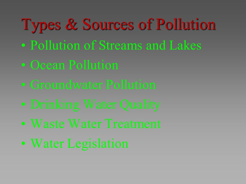 Types & Sources of Pollution
