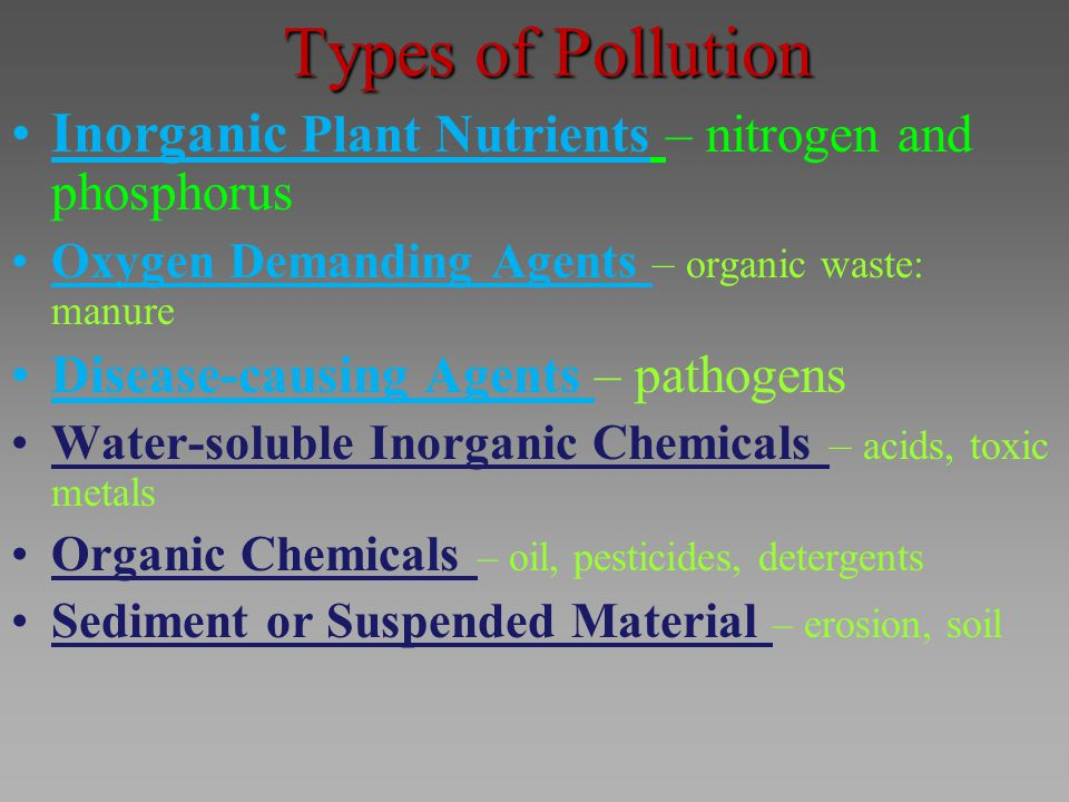Types of Pollution Inorganic Plant Nutrients – nitrogen and phosphorus