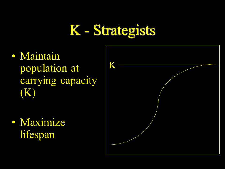 K - Strategists Maintain population at carrying capacity (K)