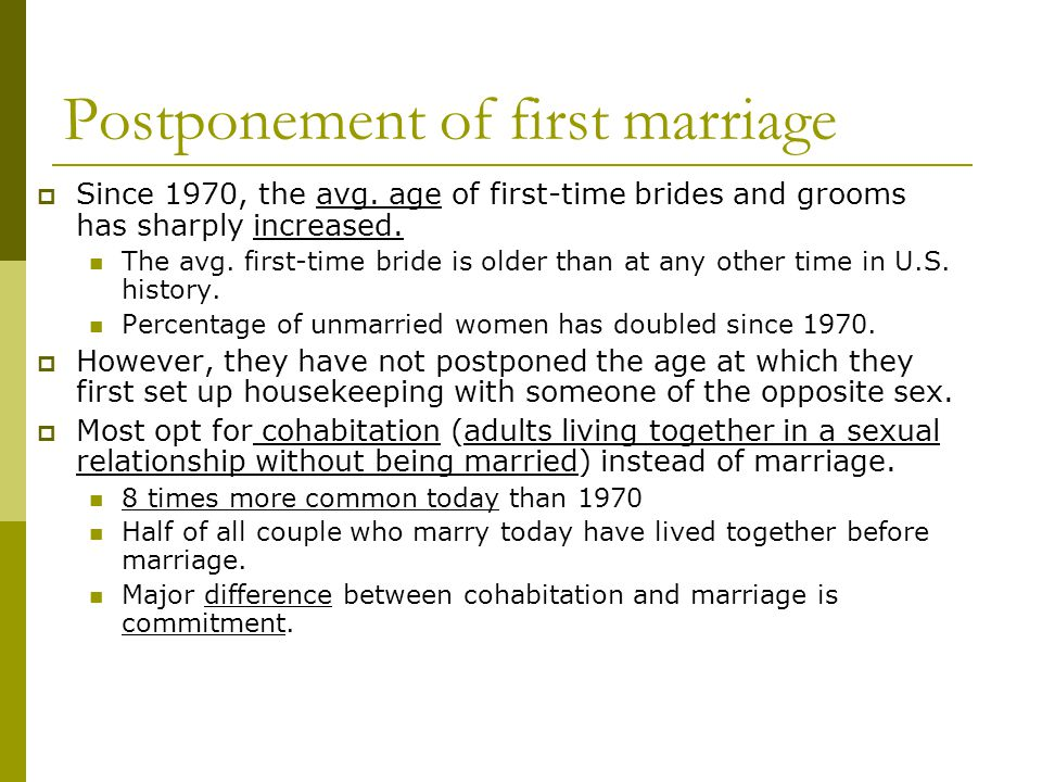 Postponement of first marriage
