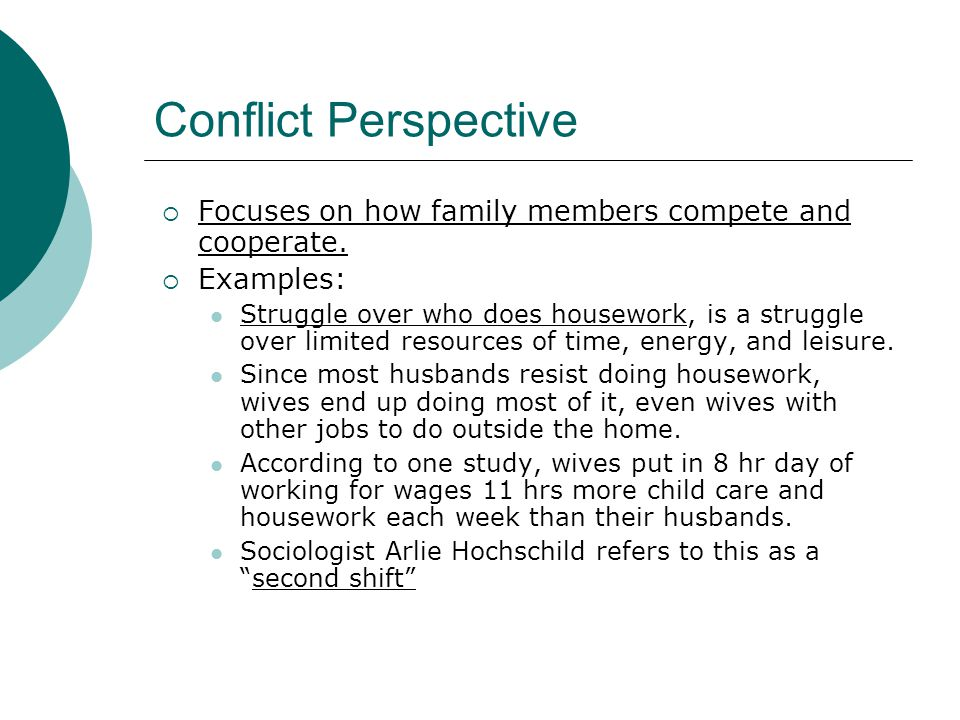 Conflict Perspective Focuses on how family members compete and cooperate. Examples: