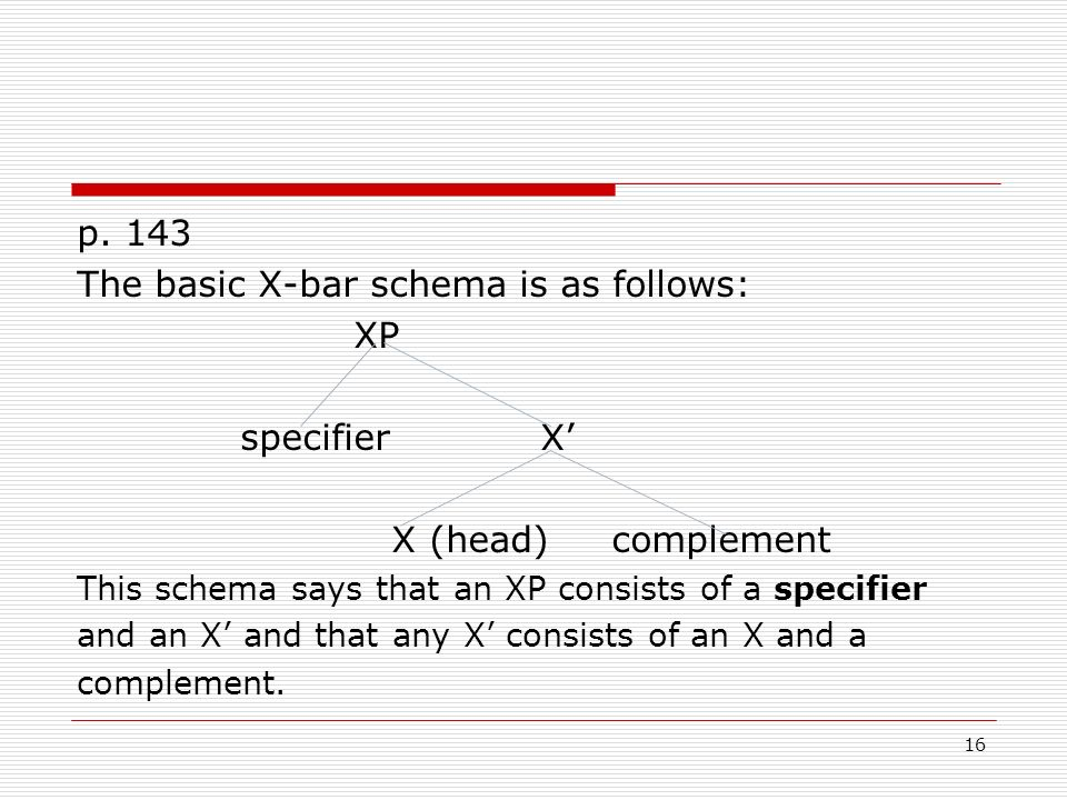 The basic X-bar schema is as follows: XP specifier X'