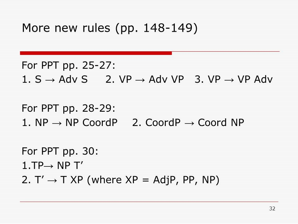 More new rules (pp. 148-149)