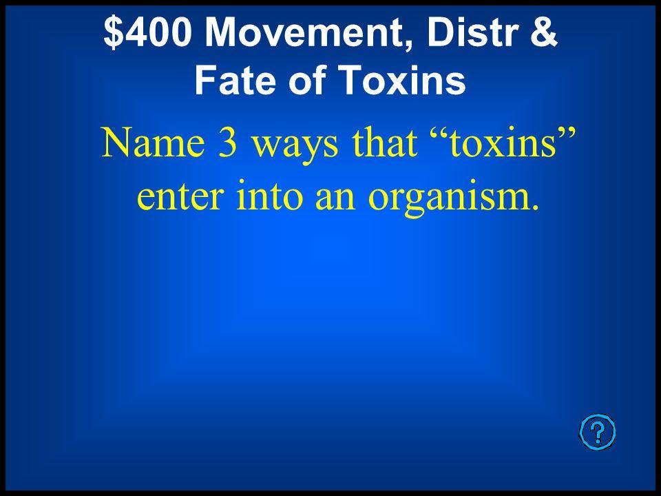 $400 Movement, Distr & Fate of Toxins