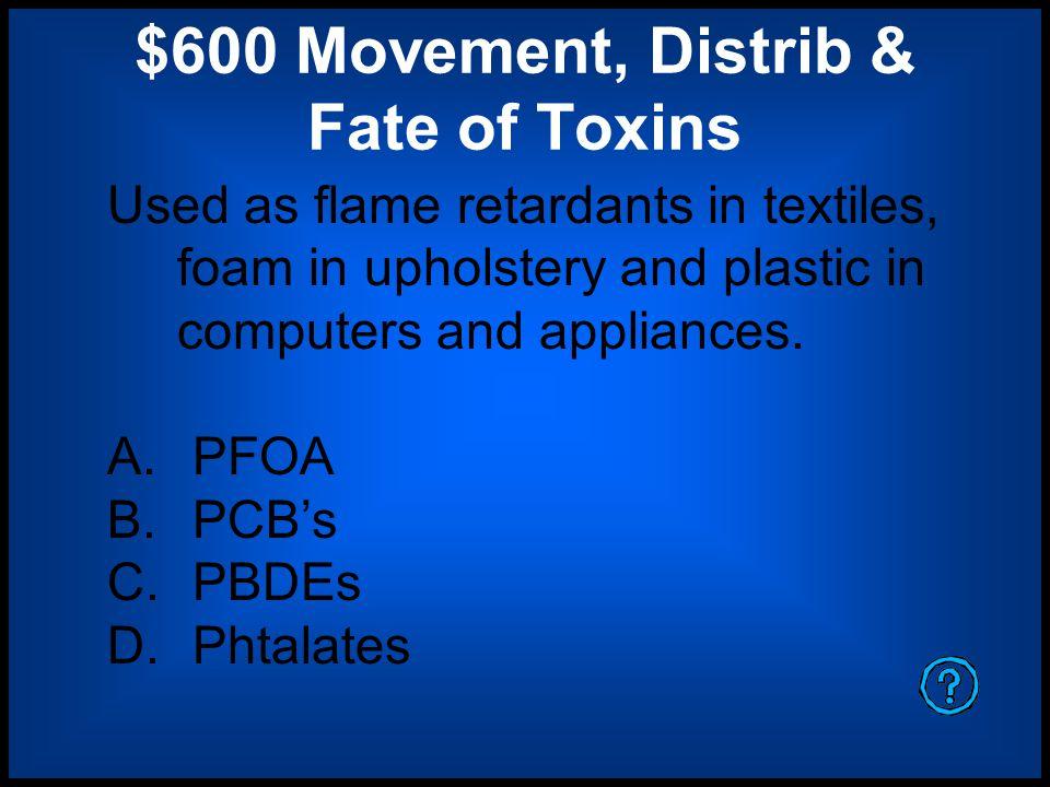 $600 Movement, Distrib & Fate of Toxins